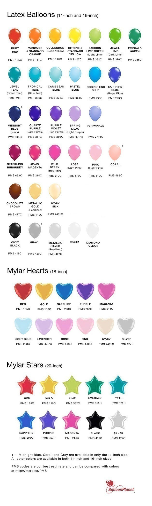 Balloon bouquet delivery balloon decorating 866 340 - Color Chart