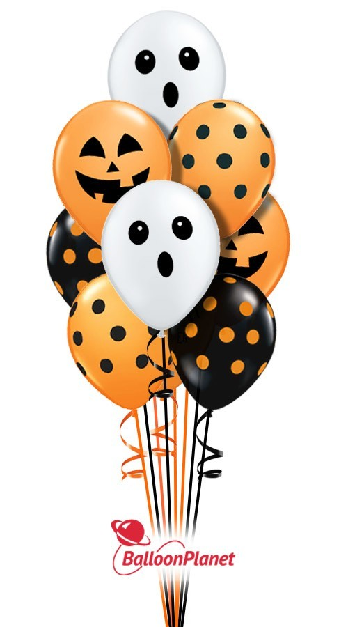 Halloween Prints Spider, Dots, Ghost Face  Balloon Bouquet  (14 Balloons)
