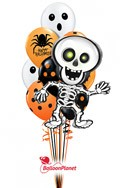 Halloween Mixw/Skelton Mylar Balloon Bouquet (10 Latex, 1 Mylar) delivery in Seattle