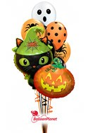 Halloween Mixw/Cat/Pumpkin Mylars Balloon Bouquet (10 Latex, 2 Mylars) delivery in Seattle