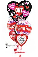 Singing Mylar MixValentine's Balloon Bouquet (5 Balloons) delivery in Washington