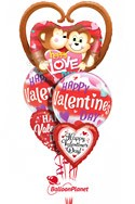 Kissing Monkeys Mylar MixValentine's Balloon Bouquet (5 Balloons) delivery in Washington