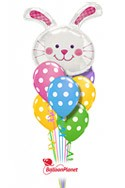 Easter Bunny & Dots Balloon Bouquet (8 Balloons) delivered in Katy