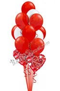 Valentine's Day Red & White Balloon Bouquet (13 Balloons) delivered in Pleasant Hill