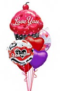 Valentine's Day  Sweet Cupcake Balloon Bouquet (6 Balloons) delivery in Glendale