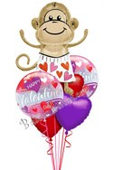 Valentine's Day Love Monkey Balloon Bouquet (6 Balloons) delivered in Rochester