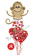Valentine's Day Jr Love Monkey Balloon Bouquet (3 Balloons) delivered in Katy