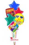 Get Well Stars Balloon Bouquet (6 Balloons) delivered in Santa Clarita