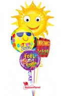 Get Well Sunburst I Balloon Bouquet (5 Balloons) delivered in Houston