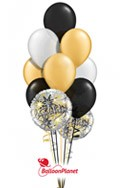 Gold, Black, SilverAnniversary Balloon Bouquet (2 Mylars, 10 Latex)) delivered in Pittsburgh