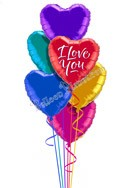 Colorful Hearts III I Love You Balloon Bouquet (6 Balloons) delivered in Edmonton