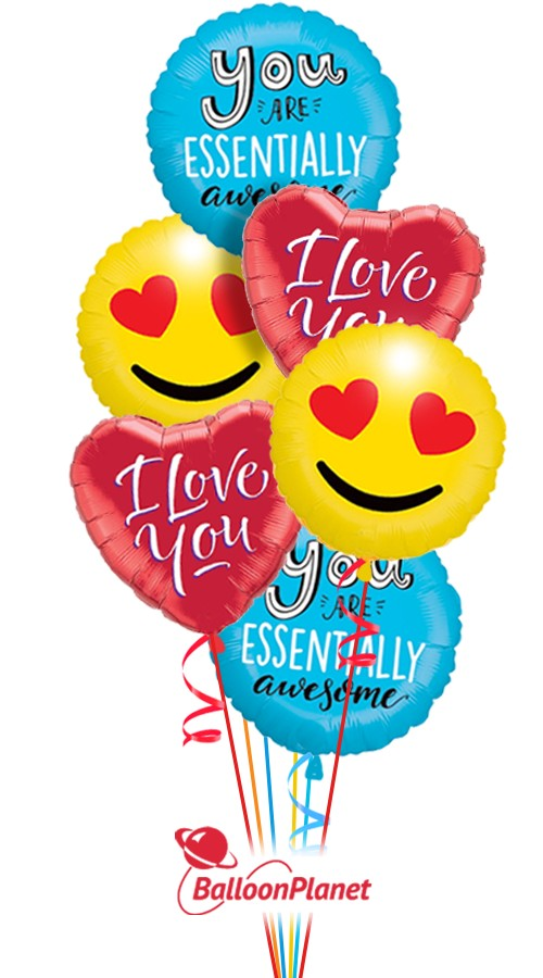 Awesome Smiles I  I Love You  Balloon Bouquet  (6 Balloons)