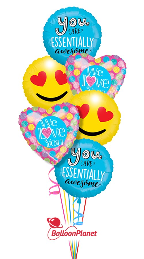 Awesome Smiles II  I Love You  Balloon Bouquet  (6 Balloons)
