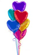 Colorful Hearts V Heart Theme Balloon Bouquet (6 Balloons) delivered in Garland