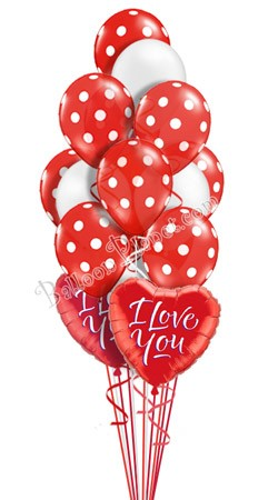 Polka Dots I  I Love You  Balloon Bouquet  (16 Balloons)