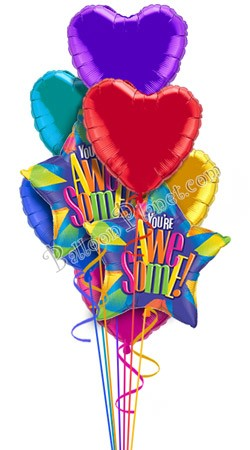Colorful Hearts IV  You're Awesome  Balloon Bouquet  (8 Balloons)