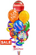 Jumbo Twisty Birthday Balloon BouquetName & Optional AgeRainbow Prints (9 Balloons) delivered in Irving