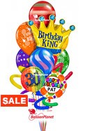 Jumbo Twisty Birthdy Balloon BouquetName & Optional AgeRainbow Prints & Crown (10 Balloons) delivered in Minneapolis
