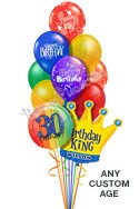Custom Name & Age Birthday Prints King Balloon Bouquet (12 Balloons) delivered in Queens