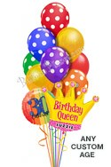 Custom Name & Age Polka Dots Queen Balloon Bouquet (12 Balloons) delivered in Katy