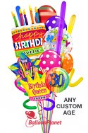 Custom Name & AgeCake & CrownQueen Madness Balloon Bouquet (15 Balloons) delivered in Fort Lauderdale