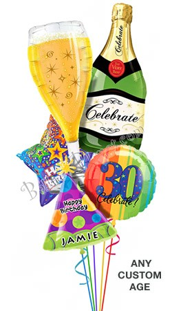 Custom Name & Age  Bubbly Birthday Balloon Bouquet (5 Balloons)