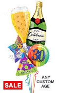 Custom Name & Age Bubbly Birthday Balloon Bouquet (5 Balloons) delivered in Santa Clarita
