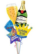 Custom Name Bubbly Birthday King Balloon Bouquet (5 Balloons) delivered in Glendale
