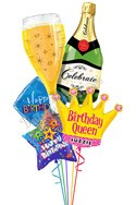 Custom Name Bubbly Birthday Queen Balloon Bouquet (5 Balloons) delivered in Queens