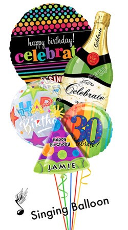 Custom Name & Age  Such Good Times  Balloon Bouquet  (5 Balloons)
