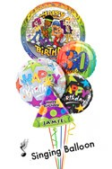 Custom Name & Age Hip Hop Birthday Balloon Bouquet (5 Balloons) delivered in Orlando
