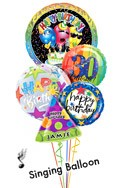 Custom Name & Age Classic Birthday Song Balloon Bouquet (5 Balloons) delivered in Raleigh
