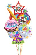 Custom Name Cupcake Starburst Balloon Bouquet (5 Balloons) delivered in Katy