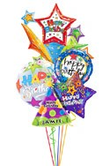 Custom Name Starburst Birthday Balloon Bouquet (5 Balloons) delivered in Detroit