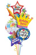 Custom Name Queen Starburst Balloon Bouquet (5 Balloons) delivered in Santa Ana