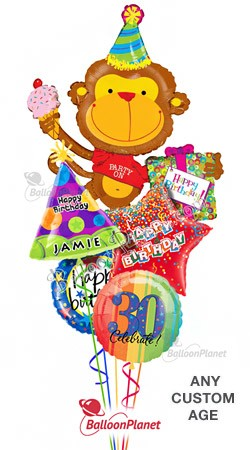 Custom Name & Age Party On Monkey  Balloon Bouquet  (5 Balloons)