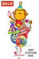 Custom Name & AgeParty On Monkey Balloon Bouquet (5 Balloons) delivered in Sherman Oaks