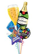 Bubbly Celebration Birthday Balloon Bouquet (5 Balloons) delivered in Henderson