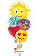 Get Well Sunburst II Balloon Bouquet (5 Balloons) delivered in Milwaukee