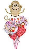 Valentine's Day  Love Monkeys Bubbles Balloon Bouquet (6 Balloons) delivered in Santa Clarita