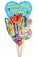 Mother's Day Big Heart & Butterfly Balloon Bouquet (5 Balloons) delivery in Philadelphia