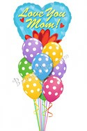 Mother's Day Big Heart & Polka Dots Balloon Bouquet (10 Balloons) delivery in Philadelphia