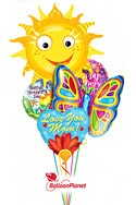 Mother's DayButterfly Smiling Sun Balloon Bouquet (5 Balloons) delivered in Redondo Beach