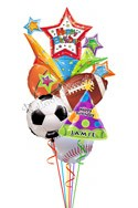 Custom NameAll Sports Birthday Balloon Bouquet (6 Balloons) delivered in Brampton