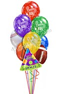 Custom NameSports Birthday Balloon Bouquet (10 Balloons) delivered in Queens