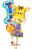Personalized Boy1st BirthdayJolly Giraffe Balloon Bouquet (4 Balloons) delivery in Montgomery