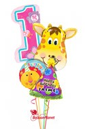 Personalized Girl1st BirthdayJolly Giraffe Balloon Bouquet (4 Balloons) delivery in Montgomery