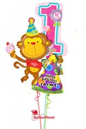 Personalized Girl 1st BirthdayParty Monkey Balloon Bouquet (3 Balloons) delivered in Marietta