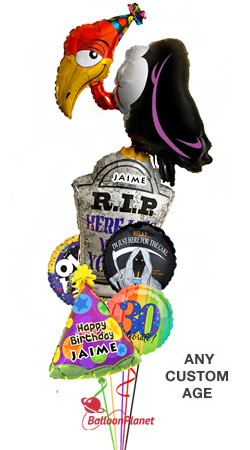 Custom Name & Age  Buzzard Birthday  Balloon Bouquet  (5 Balloons)