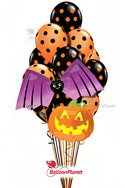 Polka Dots, Bat & Pumpkin Balloon Bouquet (12 Balloons) delivery in Santa Clarita